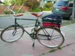 The Raleigh Steed, loaded, ready to go.