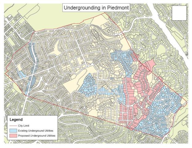 Piedmont's existing and proposed undergrounding districts