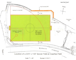 "The ""soccer"" plan to pave over the baseball/softball field for use as a soccer field."